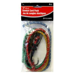 "72 Units of 4 PIECE. 18"" STRETCH CORD PACK - Bungee Cords"