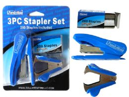 72 Units of 3 Piece Stapler Set - Staples & Staplers