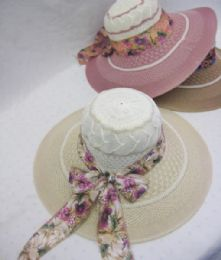 24 Units of Ladies Fashion Sun Hat With Floral Ribbon - Church Hats