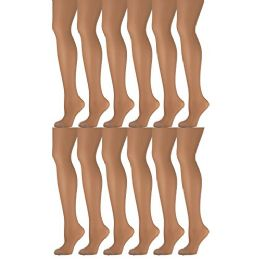 12 Pack of Mod & Tone Sheer Support Control Top 30D Womens Pantyhose (Nude, QN-2) - Womens Pantyhose