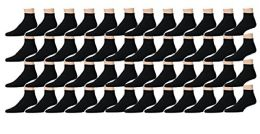48 Pairs of Kids Sports Ankle Socks, Wholesale Bulk Pack Athletic Sock for Girls and Boys, by excell (Black, 6-8)