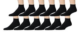 12 Pairs of Kids Sports Ankle Socks, Wholesale Bulk Pack Athletic Sock for Girls and Boys, by excell (Black, 6-8)