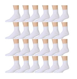 24 Pairs of Mens Sports Ankle Socks, Wholesale Bulk Pack Athletic Sock, by excell (White, 10-13)