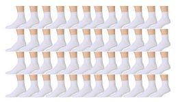 48 Pairs of Mens Sports Ankle Socks, Wholesale Bulk Pack Athletic Sock, by excell (White, 10-13) - Mens Ankle Sock