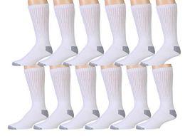 12 Units of Socksnbulk Mens Cotton Sport Crew Socks, Value Pack - Mens Crew Socks