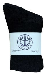 180 Units of Yacht & Smith Kids Cotton Crew Socks Black Size 4-6 - Girls Crew Socks
