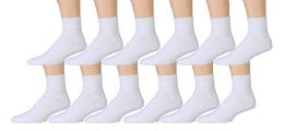 12 Pairs of Kids Sports Ankle Socks, Wholesale Bulk Pack Athletic Sock for Girls and Boys, by excell (White, 6-8)