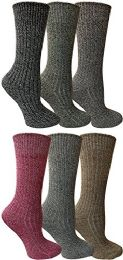 6 Pair of Excell Merino Wool Thermal Hiking Winter Warm Socks (9-11, Assorted B) - Mens Crew Socks