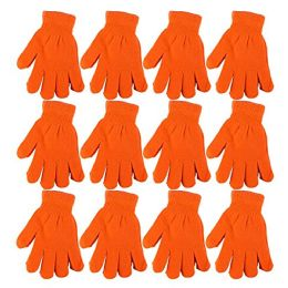 excell Mens and Womens Warm And Stretchy Winter Gloves (Womens 12 Pairs Orange)