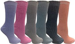 6 Pairs of Womens Crew Socks, Assorted Colored Chic Sports Athletic Sock, by WSD