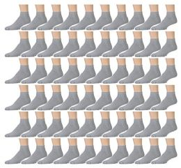 60 Pairs of Kids Sports Ankle Socks, Wholesale Bulk Pack Athletic Sock for Girls and Boys, by excell (Gray, 6-8)