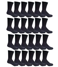 24 Units of Yacht & Smith Men's Cotton Crew Socks Black Size 10-13 - Mens Crew Socks