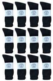 12 Units of Yacht & Smith Men's Cotton Crew Socks Black Size 10-13 - Mens Crew Socks