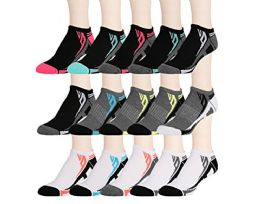 15 Pairs of WSD Womens High Performance Ankle Socks Low Cut Cushioned (Pack A)