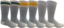 6 Pairs Merino Wool Socks for Men, Hunting Hiking Backpacking Thermal Sock by WSD (Gray w/ Stripes)