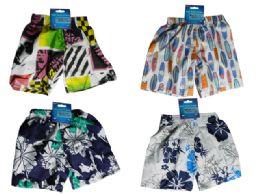 144 Units of Kid's Swimming Trunks 4 Asst Designs - Boys Swim Wear