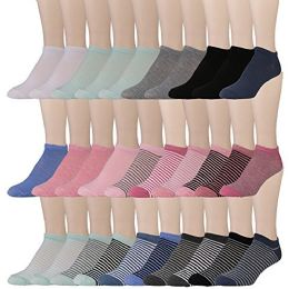 30 Pairs of WSD Womens Ankle Socks, Low Cut Sports Sock - Assorted Styles (Assorted with Mesh Tops) - Womens Ankle Sock