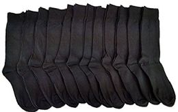 12 Pack Of excell Ladies Black Every Day Cotton Soft Crew Socks - Womens Crew Sock
