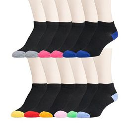 12 Pairs of WSD Womens Flat Knit Athletic No Show Ankle Socks, Assorted, 9-11 (Black/Colorful Heel and Toe) - Womens Ankle Sock