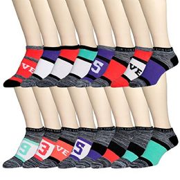 16 Pairs of WSD Womens Ankle Socks, Low Cut Sports Sock - Assorted Styles (Space Dye B, 9-11)