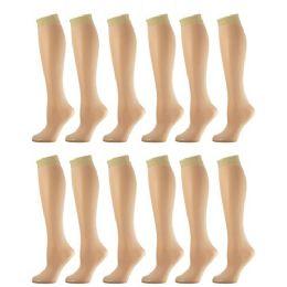 12 Pairs of excell Sheer Trouser Socks for Women, 20 Denier Knee High Dress Socks (Beige)