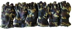 6 Pairs Of Excell Camoflauge Military Camo Fleece Winter Gloves - Winter Gloves