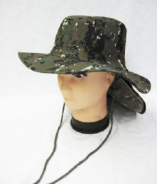 24 Units of Men's Cowboy Fishing Safari Boonie Hat In Pixel Green Camo - Cowboy & Boonie Hat
