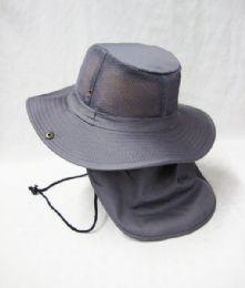 24 Units of Men's Mesh Boonie / Hiking Hat in Grey - Cowboy & Boonie Hat
