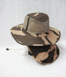 24 Units of Men's Mesh Boonie / Hiking Hat In Khaki Camo - Cowboy & Boonie Hat