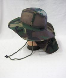 24 Units of Mens Net Boonie Hiker /Fisher Hat in Camo - Cowboy & Boonie Hat