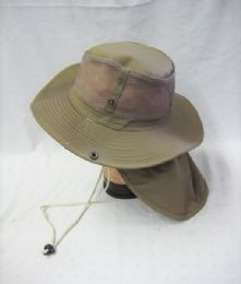 24 Units of Mens Net Boonie Hiker /Fisher Hat in Khaki - Cowboy & Boonie Hat