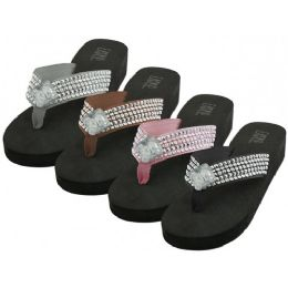 36 Units of Women's Rhinestone Thong Sandals - Women's Sandals