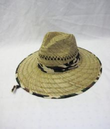 24 Units of Men's Camo Trim Straw Summer Hat - Sun Hats