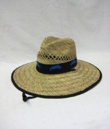 24 Units of Men Summer Straw Hat Fish In Black - Sun Hats