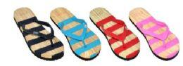 48 Units of WOMEN'S ASSORTED STRIPE COLOR FLIP FLOP - Women's Flip Flops