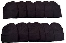 12 Winter Toboggan Beanie Hats by excell Thermal Sport Mens Womens, Black