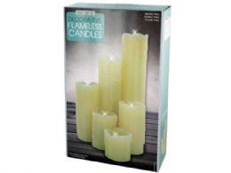 6 Units of Decorative Flameless Pillar Candles Set - Candles & Accessories