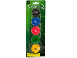 72 Units of Casino Poker Chips Set - Playing Cards, Dice & Poker