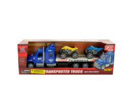 12 Units of Friction Powered Toy Trailer Truck with ATVs - Cars, Planes, Trains & Bikes