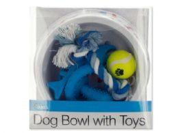 12 Units of Printed Dog Bowl With Toys Set - Pet Accessories
