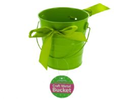 36 Units of Mini Metal Craft Bucket With Ribbon - Buckets & Basins