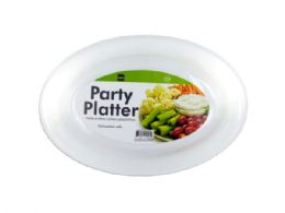 48 Units of White Plastic Party Platter - Party Favors