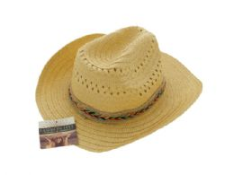 24 Units of Western Style Woven Fashion Hat - Cowboy & Boonie Hat