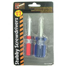 72 Units of 2 Pack stubby screwdriver set - Drills and Bits