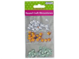 60 Units of Faceted Round Craft Rhinestones - Craft Glue & Glitter