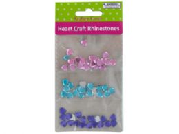 60 Units of Faceted Heart Craft Rhinestones - Craft Glue & Glitter