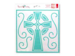 72 Units of Celtic Cross Stencil Mask - Craft Kits