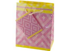 108 Units of Small Pink Diamonds Gift Bag - Gift Bags