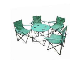 3 Units of Folding Camping Table & Chairs Set with Carry Bag - Camping Gear