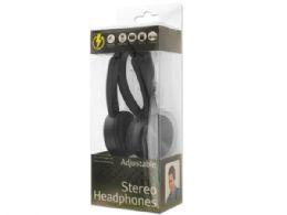 12 Units of Black Adjustable Stereo Headphones - Headphones and Earbuds